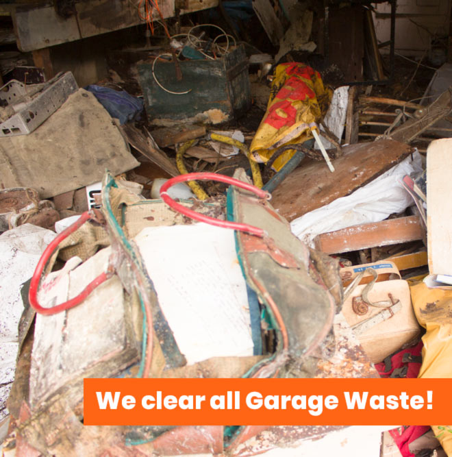 garage full of mess with message we clear all garage waste