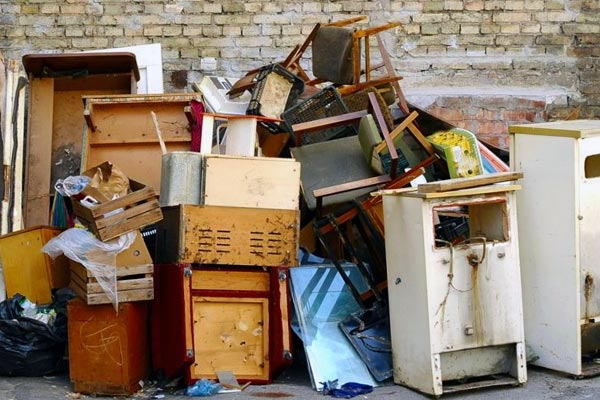 various unwanted abandoned household items